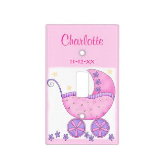 Pink Baby Buggy Girl Name Birth Date Personalized Light Switch Cover