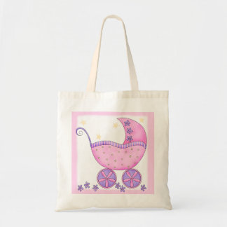 Pink Baby Buggy Girl Tote Diaper Gift Bags