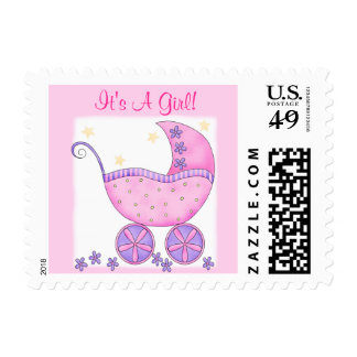 "Pink Baby Buggy ""Its A Girl"" Postage"