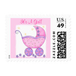 """Pink Baby Buggy """"Its A Girl"""" Postage"""