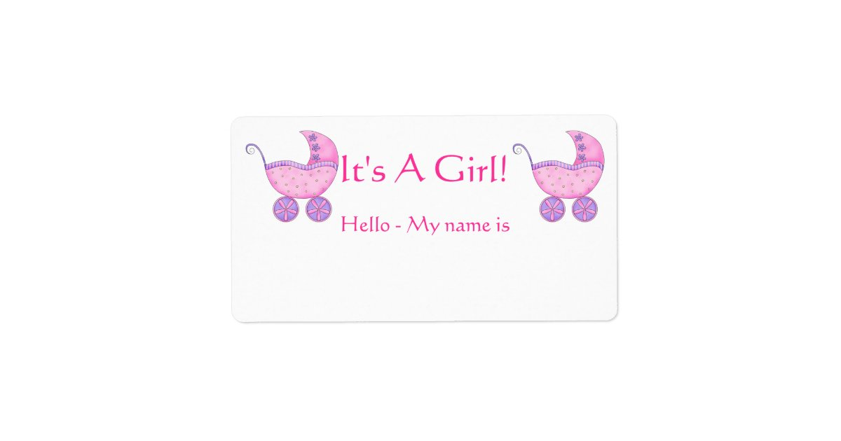 Pink Baby Buggy It S A Girl Shower Name Tag Zazzle Com
