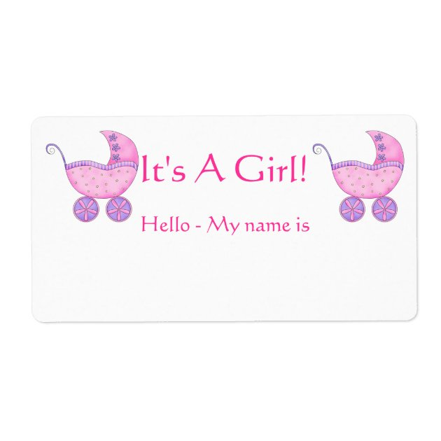 Pink Baby Buggy Itu0027s A Girl Shower Name Tag | Zazzle.com