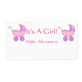 Pink Baby Buggy It's A Girl Shower Name Tag Label