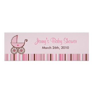 Pink Baby Buggy Personalized Baby Shower Banner Poster