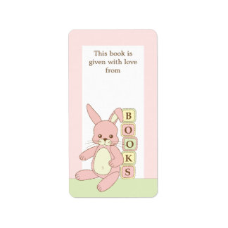 Pink Baby Bunny Book Gift Book Plate Label