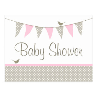 Pink Baby Bunting Baby Shower Postcard Invitation