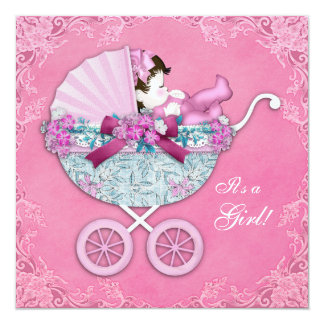 Pink Baby Carriage Baby Girl Shower Invitation