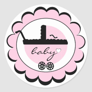 Pink Baby Carriage Baby Shower Classic Round Sticker