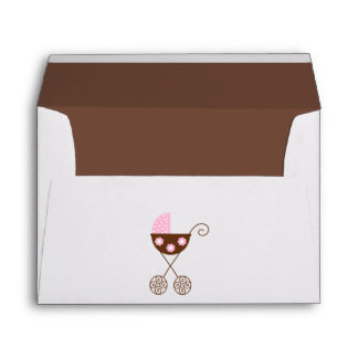 Pink Baby Carriage Baby Shower Envelope