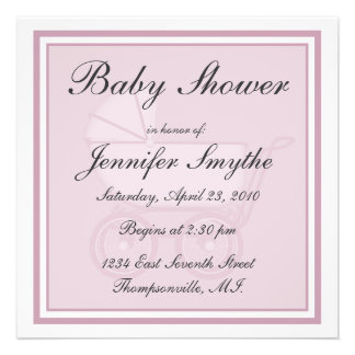Pink Baby Carriage Baby Shower Invitation