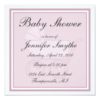 """Pink Baby Carriage Baby Shower Invitation 5.25"""" Square Invitation Card"""
