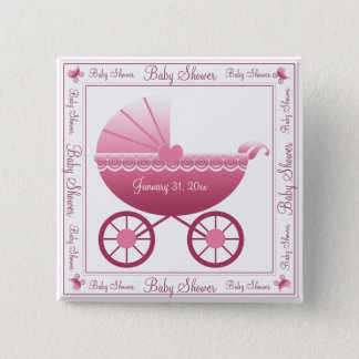 Pink Baby Carriage Button