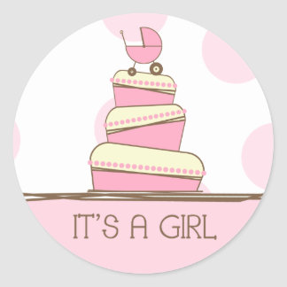 """Pink Baby Carriage Cake """"It's A Girl"""" Sticker"""
