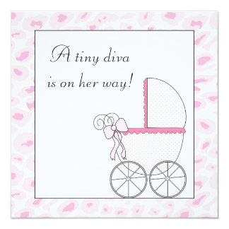 Pink Baby Carriage Diva Leopard Baby Girl Shower 5.25x5.25 Square Paper Invitation Card