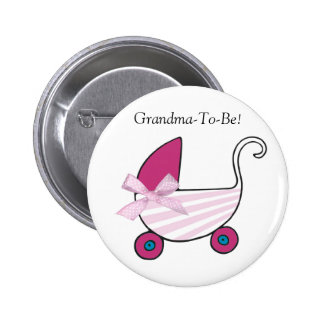 Pink Baby Carriage Grandmother Button
