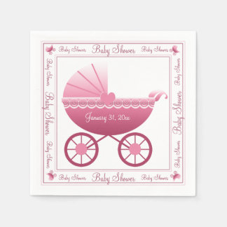 Pink Baby Carriage Paper Napkin
