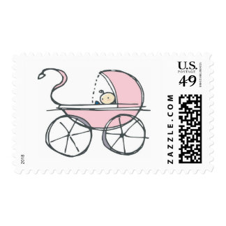 Pink Baby Carriage Postage