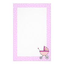 Pink Baby Carriage Stationery