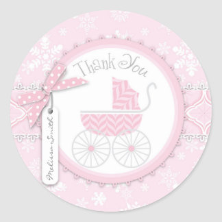 Pink Baby Carriage & Winter Snowflake Thank You Classic Round Sticker