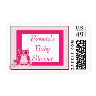Pink Baby Cartoon Owl Shower Postage Stamps