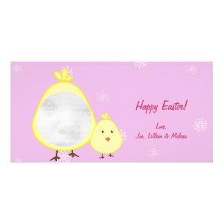 Pink Baby Chick Easter Photo Cards
