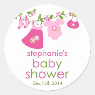 Pink Baby Clothesline Baby Shower Sticker