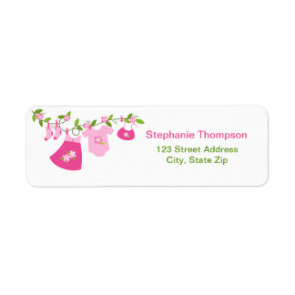 Pink Baby Clothesline Return Address Labels