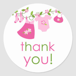 Pink Baby Clothesline Thank You Sticker