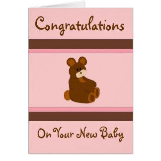 Pink Baby Congratulations Card