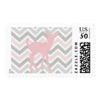 Pink Baby Deer and Pink/Gray Chevron Postage