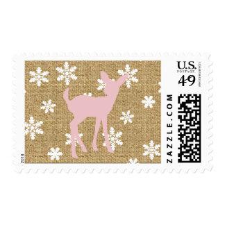 Pink Baby Deer and Snowflake Burlap Postage