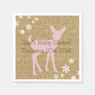 Pink Baby Deer and Snowflakes Burlap Napkins Disposable Napkin