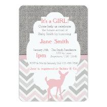 Pink Baby Deer Chevron & Burlap Baby Shower Invite