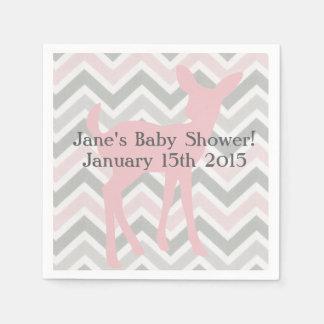 Pink Baby Deer & Gray/Pink Chevron Napkins