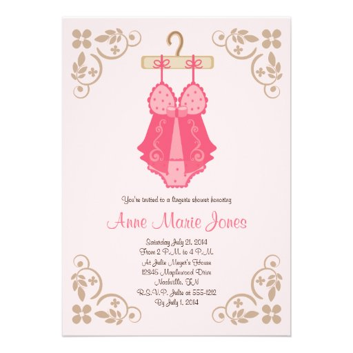 Pink Baby Doll Lingerie Shower Party Invitations
