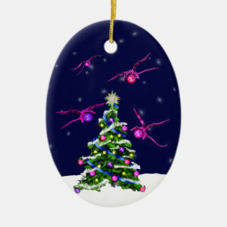 Pink Baby Dragons Encircle a Christmas Tree Ceramic Ornament