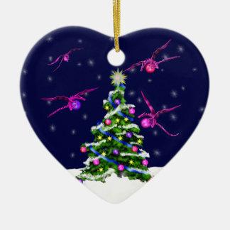 Pink Baby Dragons Encircle a Christmas Tree Ceramic Ornament