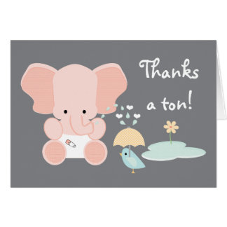 Pink Baby Elephant and Bird Baby Shower Thank You Card