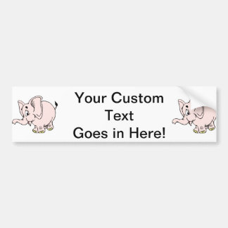 Pink baby elephant graphic.png bumper sticker