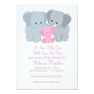 Pink Baby Elephant Invitation