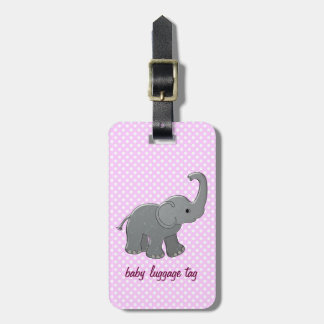 pink baby elephant tag for luggage
