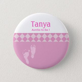 Pink Baby Feet Baby Shower Name Tag Button