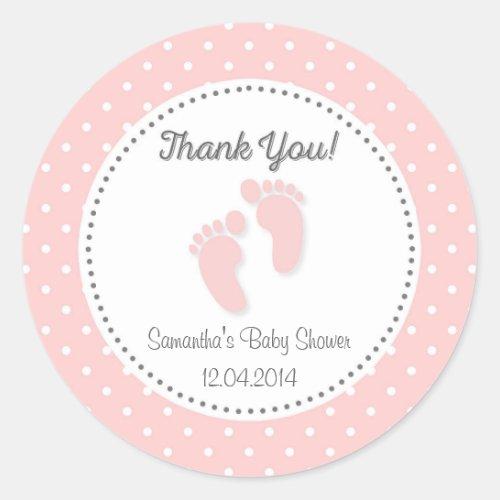 Pink Baby Feet Baby Shower Sticker