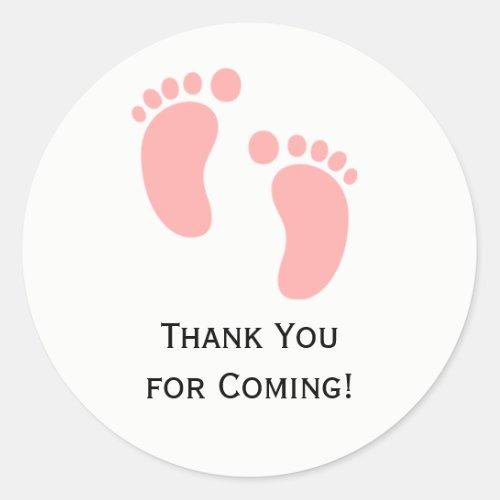 Pink Baby Feet Baby Shower Sticker Labels