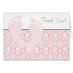 Pink Baby Feet Baby Shower Thank You Cards