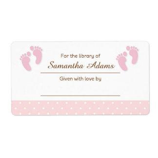 Pink Baby Feet Bookplate Label Sticker