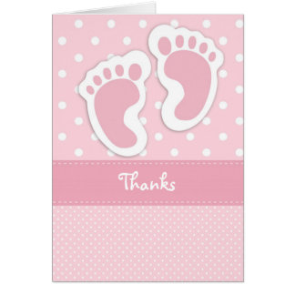 Pink Baby Foot Print Thank You Card