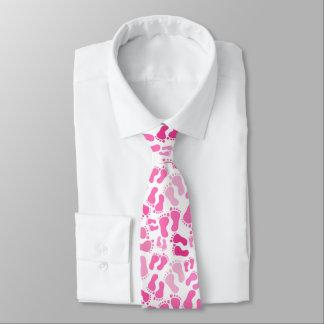 Pink Baby Foot Prints Neck Tie