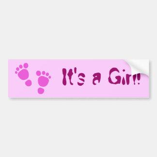 Pink Baby Footprint It's A Girl! Bumper Sticker