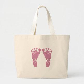 Pink baby footprints large tote bag